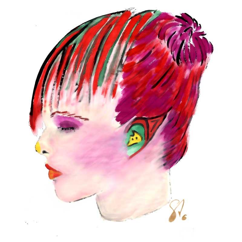 Alien mit roten Haaren | Sinnemanie Wasserfarben Malerei