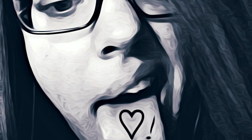 Sinnemanie   show me love s/w Bild, rausgestreckte Zunge mit einem Herz und Ausrufezeichen beschriftet