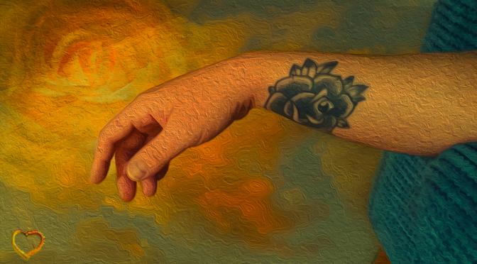 Stephen Mellor 10.09.1984 - 11.05.2019 Trauerjahr - In heaven Tattoo Arm gelbes Herz Ölgemälde